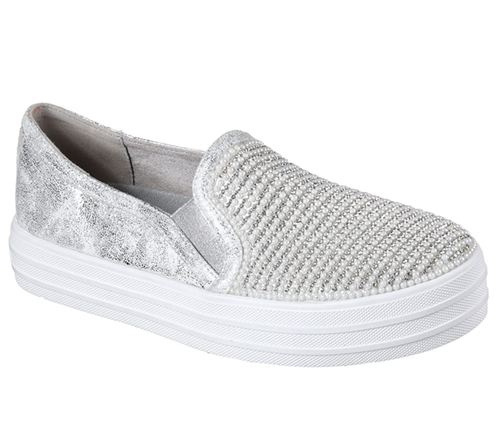 Skechers (Silver) Double Up Shiny Dancer Womens Street Shoes - Canada 67VAMIS